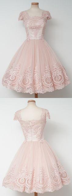 2017 homecoming dresses,short homecoming dresses,lace homecoming dresses,pearl pink homecoming dresses @simpledress2480