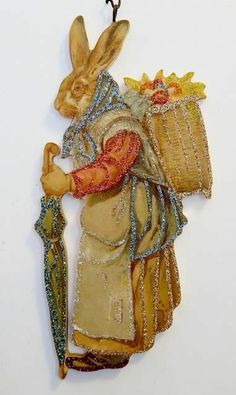 DRESSED WOMAN RABBIT w/ EGGS in BACKPACK~ EASTER Ornament ~ Vtg Postcard Img