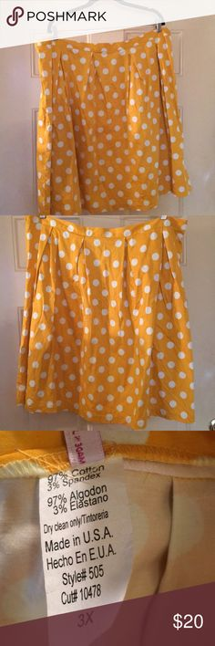 """Mustard polka dot skirt from ModCloth - size 3X Very cute skirt from ModCloth!   It's mustard - it has polka dots- what else do you need for spring/summer!   I'm 5'7"""" and it hit me right above my knee.  I like skirts that hit below the knee so please keep the length in mind. Modcloth Skirts Midi"""