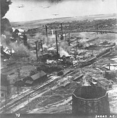 2nd wave of B-24 Liberators approach the Ploesti oil refineries, Ploesti Romania, Aug 1 1943. 14 B-24s can be seen in this image.