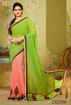 Georgette and Jacquard Bollywood Replica Zarine Khan Saree in Green an – USMART NY