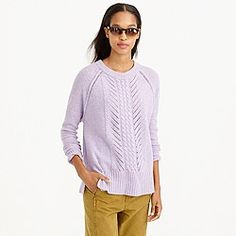 Merino wool pointelle cable sweater