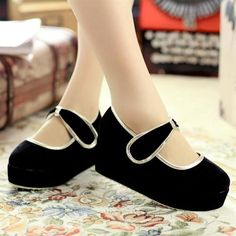 Cute Black Velvet Gothic Lolita Fashion Mary Jane Event Shoes Women