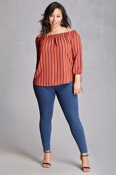 Forever - A crepe woven top by Perch™ featuring an elasticized off-the-shoulder neckline, a stripe pattern, long sleeves with self-tie cuffs and a keyhole cutout, and a curved hem. Curvy Outfits, Plus Size Outfits, Fashion Outfits, Womens Fashion, Moda Outfits, Fashion Blouses, Look Plus Size, Plus Size Model, Curvy Girl Fashion