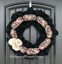 Beautiful black burlap wreath with ribbon and burlap rose accents. Front Door Decor, Wreaths For Front Door, Door Wreaths, Burlap Wreaths, Black Wreath, Burlap Roses, Modern Wreath, Picture Letters, Fall Wreaths