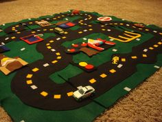 Toy Car Floor Mat Puzzle Accessories Pattern by toHugaBug on Etsy