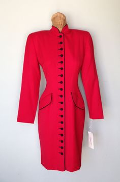 VTG with TAGS Arnold Scaasi Red Wool Button Down Fitted Coat Jacket Dress