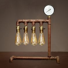 Mottled Iron Four Light Vintage Steampunk Pipe Table Lamp