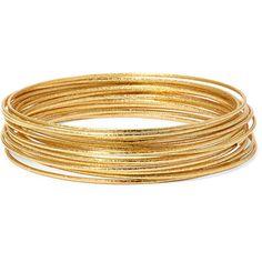 Bold Elements™ Gold-Tone Bangle Bracelet Set (85 DKK) ❤ liked on Polyvore featuring jewelry, bracelets, accessories, bangle jewelry, hinged bangle, bangle bracelet, goldtone jewelry and hinged bracelet