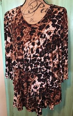 SUSAN GRAVER Liquid Knit Top Leopard Print Tiered Ruffle BlouseShirt Sz M #SusanGraver #Blouse #Casual