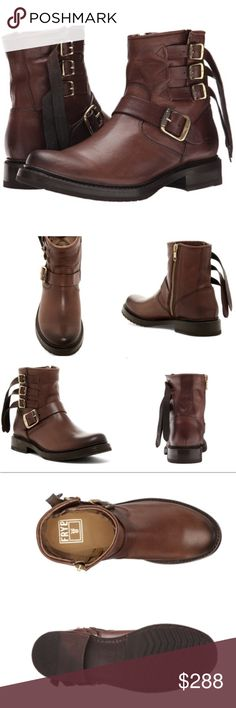 """🆕 Frye Veronica Short Multi-Strap Boots #113 NWB Sizing: True to size. M=medium/standard width  - Round toe - Topstitching - Multistrap shaft and ankle strap - Stacked heel - Side zip closure - Approx. 5.5"""" shaft height, 8"""" opening circumference - Approx. 1"""" heel - Imported Materials Leather upper, rubber sole Frye Shoes Ankle Boots & Booties"""