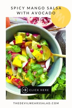 Outrageously easy to make, our Spicy Mango Salsa with Avocado is super popular for the crowds. Fresh, zesty with a good kick of jalapeno, you will love this delicious mango salad variation. Quick Salad Recipes, Vegetarian Salad Recipes, Summer Salad Recipes, Summer Salads, Healthy Recipes, Mango Avocado Salsa, Mango Salad, Halloumi, Dairy Free Salads