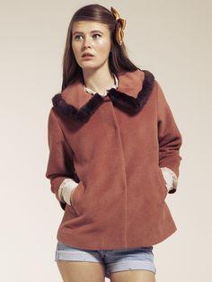 Pink Short Fur Trim Collar Jacket