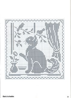 cross stitch silhouette cat in window