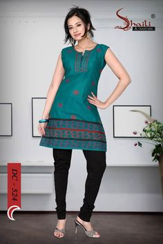 WOMENs COTTON LONG KURTI TOP TUNICA by Snehal Creation. Ravishing Rama color cambric cotton fabric sleeve less women tunic having stylish neck pattern with designer print at the daaman.It is also available in 3 colors.