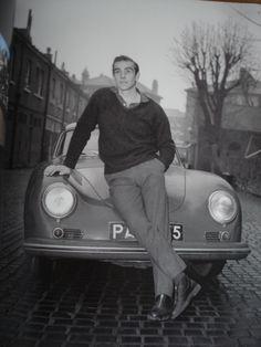 Sean Connery in his Porsche 356 in Kilburn, North West London 1964
