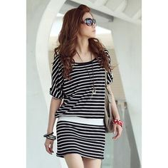 Batwing Sleeves Scoop Neck Stripe Print Packet Buttock Casual Women's Dress