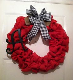 Roll Tide Bama Wreath - 20 Wreath Nothing like the SEC Football and Nick Saban and Alabama Football!! To show your team spirit for Bama - Big Al - Roll Tide Roll would be this beautiful burlap wreath with a Big Black Alabama A and with a big bow done in natural burlap with a