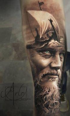 Amazing King Ragnar Tattoo