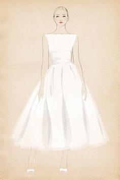 Tea Length Wedding Dress: This style, which lands anywhere from the bottom of the calf to the ankle, creates a nostalgic look popularized by Audrey Hepburn.