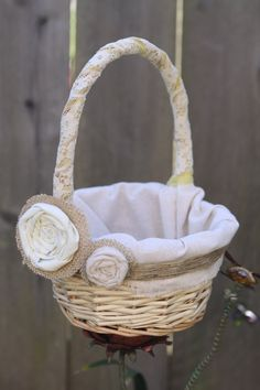 Rustic  Flower Girl Basket Burlap and Linen Faded by birdandwhale, $33.00
