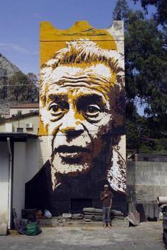 Renato Guttuso Street Art portrait by @Orticanoodles in Giardini Naxos, Sicily