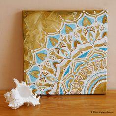 Original Mandala Painting on Canvas por EgleMANDALAdesign en Etsy