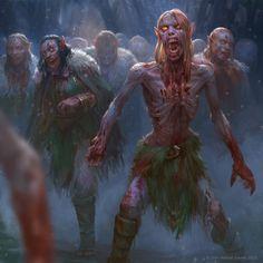elven zombie horde, devin platts on ArtStation at https://www.artstation.com/artwork/rOdY2