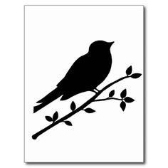 Silhouette Bird Tattoo | Oiseau sur une silhouette de branche cartes postales