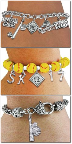 Softball Chick Stretch Bracelet -  Realistic Softballs With Silver Charm