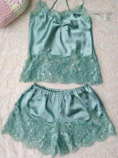 Green Spaghetti Strap Cross Back Crochet Lace Two-piece Sleepwear | Choies