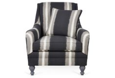One Kings Lane - Lounge Around - Yves Chair, Charcoal/Gray Stripe
