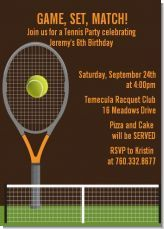Tennis birthday party invitation. Tennis is a fun sport for everyone at the party to enjoy!