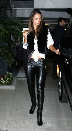 Perfect body: Alessandra Ambrosio shows off her incredible figure in skin-tight leather trousers