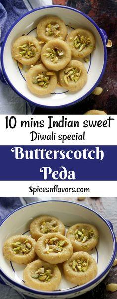 butterscotch peda recipe diwali peda recipe indian sweets diwali recipes festival recipe indian mithai kesar peda chocolate peda instant peda food photography #diwali #pinterest #sweets
