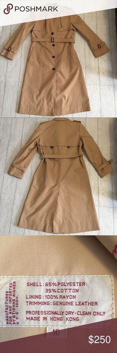 """Etienne Aigner Tan trench coat size 10 Etienne Aigner Tan trench coat size 10. Shell 65% polyester and 35% cotton, lining  100% Rayon trimming genuine leather. Extra buttons inside the coat, belt including, side pockets, a small hole and stain see photo. Wear on the sleeve belt holders, double pockets on each side. Approximately 18"""" from underarm to underarm and approximately 43"""" in length from neckline stitch to bottom of coat. Runs small Etienne Aigner Jackets & Coats Trench Coats"""