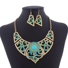 Chic Resin Drill Beads Design Retro Jewelry Sets Ladies Necklace and Hook Earrings Two Colors