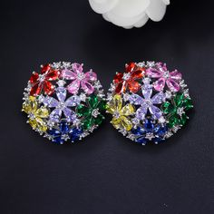 Ousnow marquise cut multicolor cz zirconia stones roung big stud earrings wome from the austrian crystal Mother Daughter Jewelry, Jewelry Sets, Women Jewelry, Cubic Zirconia Earrings, Marquise Cut, Austrian Crystal, Ear Studs, Fashion Jewellery, Stud Earrings