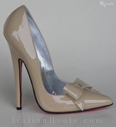 Beige Pumps Sibilla  Skyscraper pump made in patent beige kidskin with bow, 15cm spiked heel and real leather insole, lining and genuine leather red sole. Entirely hand-made using highest quality leather and natural fabric by master Italian shoemakers.