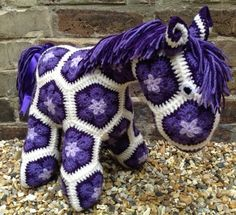 Violet Purple Crochet African Flower Pony by BlackFishes on Etsy