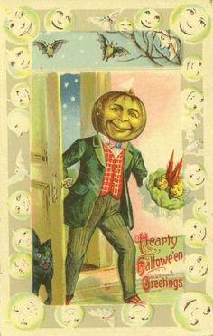 Halloween pumpkin head black cat full moon holiday