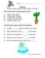 noun worksheet 8 Noun Worksheets