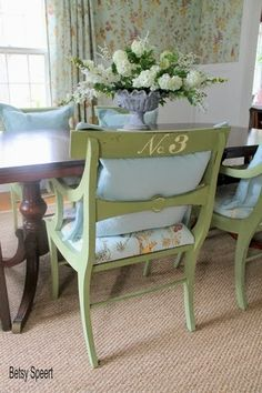 Love the soft wallpaper and painted chairs - pretty green Cottage Dining Rooms, Cottage Living, Living Room, Cottage Chic, Upcycled Furniture, Cool Furniture, Painted Furniture, Furniture Ideas, Painted Chairs