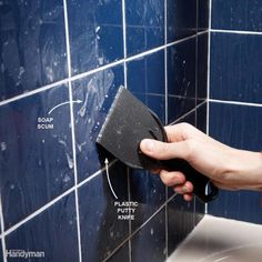 Scrape scum with a plastic putty knife. Soap has a nasty way of forming a hard-to-remove film on tile in tubs and showers. You won't get rid of it by rubbing. Instead, wait for the surface to dry, then scrape off the scum with a plastic putty knife. Household Cleaning Tips, House Cleaning Tips, Diy Cleaning Products, Cleaning Solutions, Spring Cleaning, Cleaning Hacks, Cleaning Schedules, Cleaning Recipes, Deep Cleaning