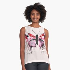 Womens Sleeveless Tops, Chiffon, Butterfly, Tank Tops, Fabric, Black, Printed, Awesome, Products
