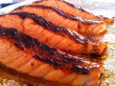 Salmon.... I recommend serving this with white rice and steamed veggies or on top of a Caesar salad... Yum! jb