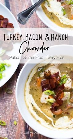 Whip up this healthy turkey chowder with Thanksgiving leftovers! It's perfect for a chilly winter night. Paleo-friendly, Whole30 compliant, and family-friendly. | perrysplate.com #turkeyrecipes #thanksgivingleftovers #whole30recipes
