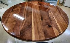 Walnut Round Table Top  Finished by SelectWoodWorks on Etsy