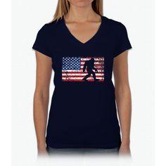 American Flag Bigfoot T-Shirt, Funny 4th of July Sasquatch Womens V-Neck T-Shirt