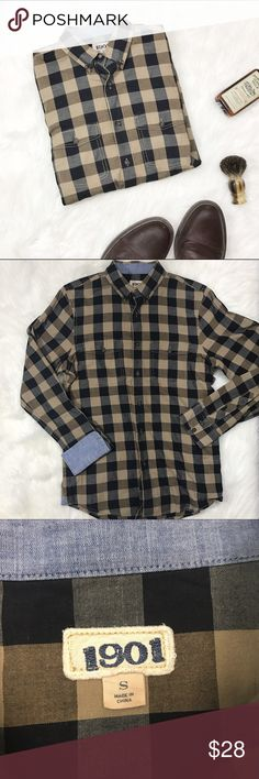Stylish plaid long sleeve shirt. Size Small. 1901 - small plaid long sleeve button down shirt. Great very lightly used condition. 1901 Shirts Casual Button Down Shirts